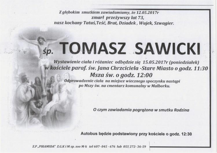 Zmarł Tomasz Sawicki. Żył 73 lata.