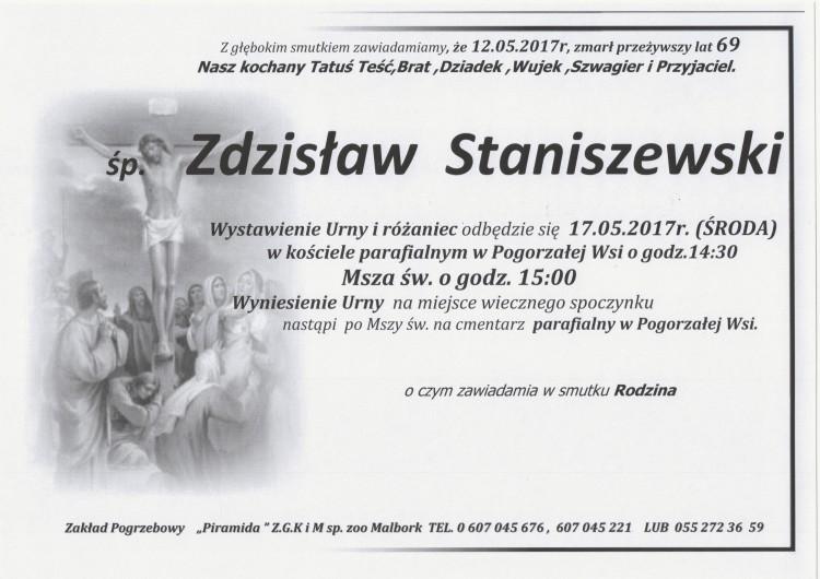 Zmarł Zdzisław Staniszewski. Żył 69 lat.
