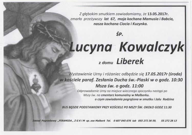 Zmarła Lucyna Kowalczyk. Żyła 67 lat.