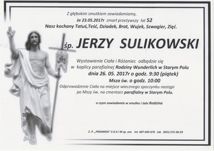 Zmarł Jerzy Sulikowski. Żył 52 lata.