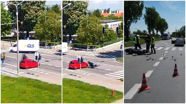 Kamera zarejestrowała zderzenie auta ze skuterem w Malborku. Dwie osoby trafiły do szpitala – 25.05.2017