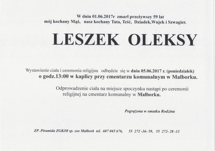 Zmarł Leszek Oleksy. Żył 59 lat.