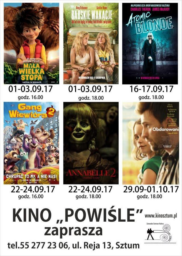 Sztum : Kino Powiśle przedstawia wrześniowy repertuar - 01- 29.09.2017
