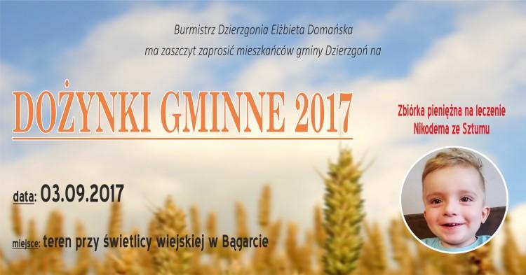 Gmina Dzierzgoń: Zapraszamy na dożynki gminne w Bągarcie. Będzie zbiórka na operację dla Nikosia Nazarewicza – 03.09.2017