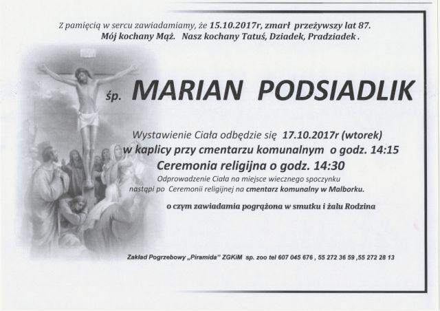 Zmarł Marian Podsiadlik. Żył 87 lat.