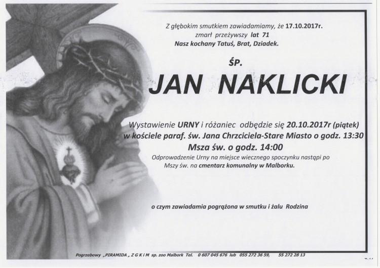 Zmarł Jan Naklicki. Żył 71 lat.
