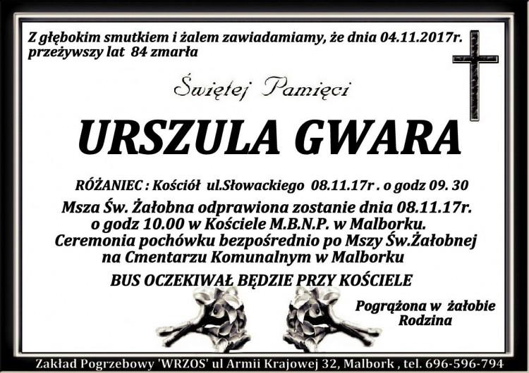Zmarła Urszula Gwara. Żyła 84 lat.