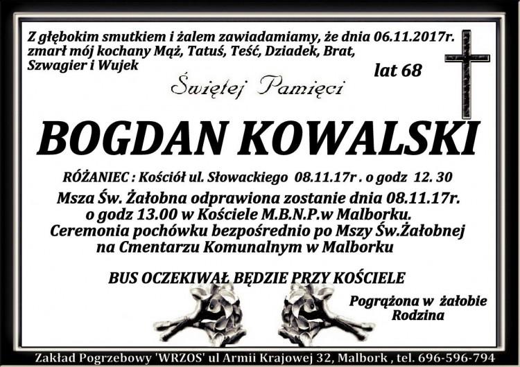 Zmarł Bogdan Kowalski. Żył 68 lat.