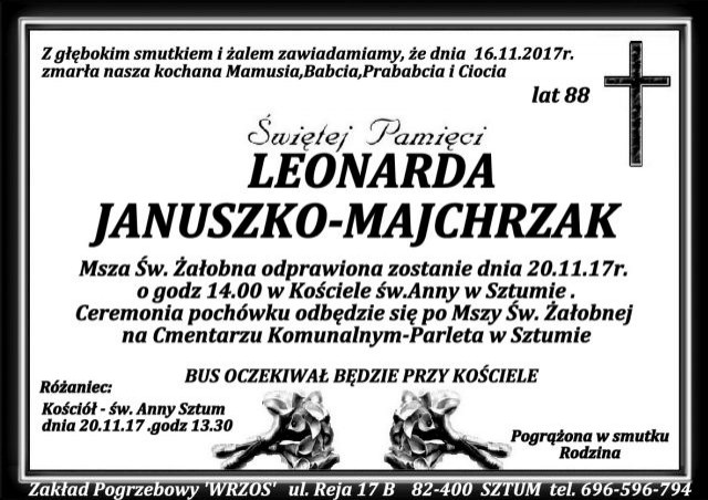 Zmarła Leonarda Januszko - Majchrzak. Żyła 88 lat.