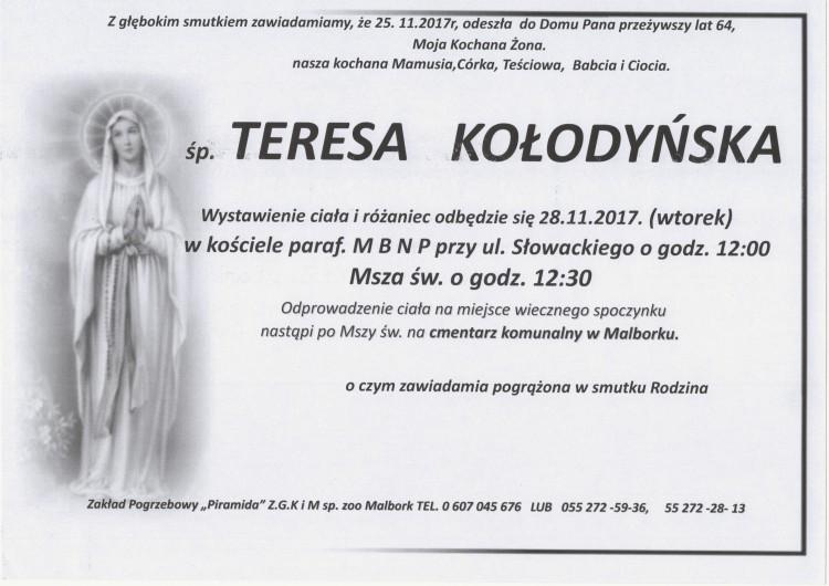 Zmarła Teresa Kołodyńska. Żyła 64 lata.