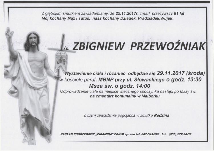 Zmarł Zbigniew Przewoźniak. Żył 81 lat.