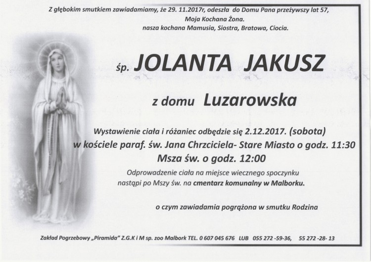 Zmarła Jolanta Jakusz. Żyła 57 lat.