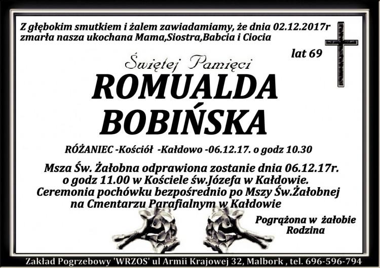 Zmarła Romualda Babińska. Żyła 69 lat.