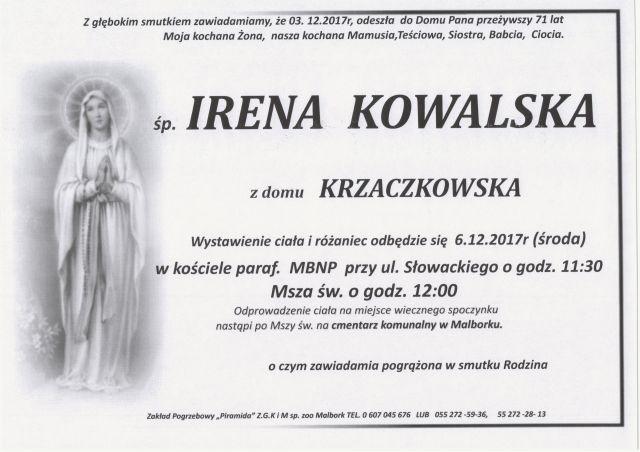 Zmarła Irena Kowalska. Żyła 71 lat.