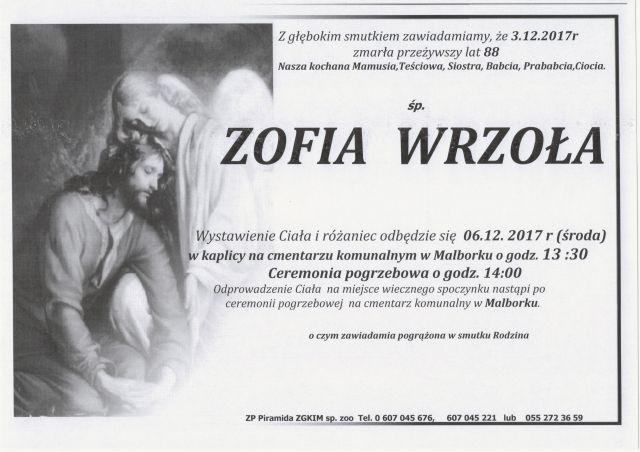 Zmarła Zofia Wrzoła. Żyła 88 lat