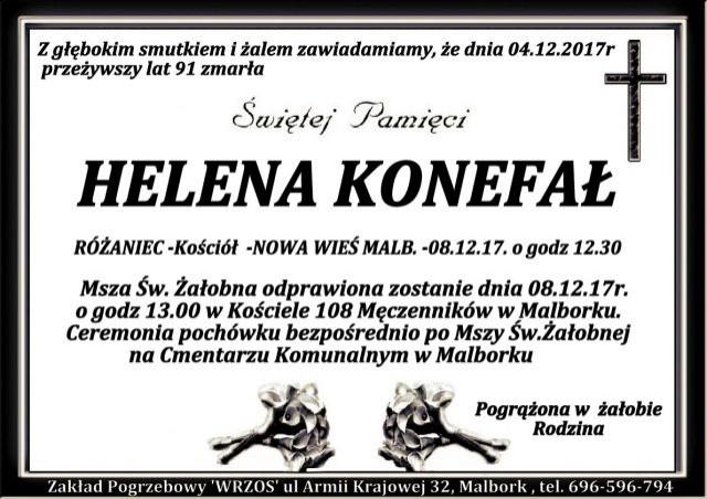 Helena Konefał. Żyła 91 lat