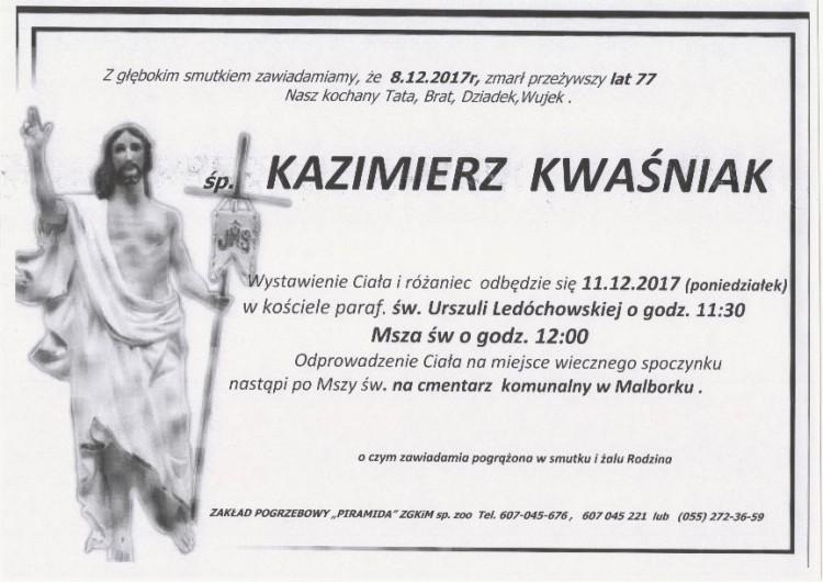 Zmarł Kazimierz Kwaśniak. Żył 77 lat
