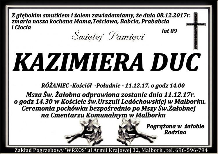 Zmarła Kazimiera Duc. Żyła 89 lat.