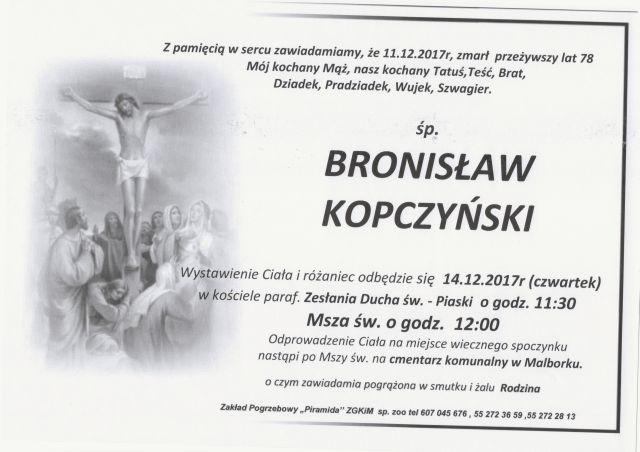 Zmarł Bronisław Kopczyński. Żył 78 lat