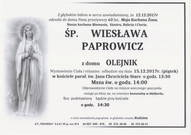 Zmarła Wiesława Paprowicz. Żyła 63 lat.