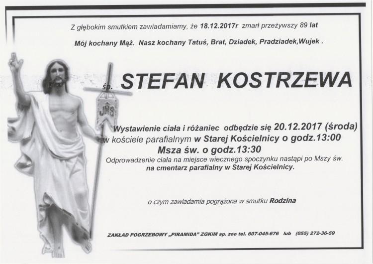Zmarł Stefan Kostrzewa. Żył 89 lat.