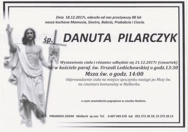 Zmarła Danuta Pilarczyk. Żyła 88 lat