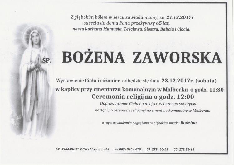 Zmarła Bożena Zaworska. Żyła 65 lat.