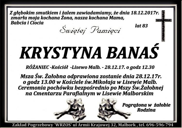 Zmarła Krystyna Banaś. Żyła 83 lata.