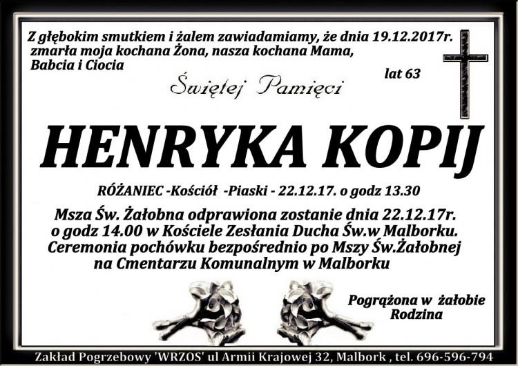 Zmarła Henryka Kopij. Żyła 63 lata.