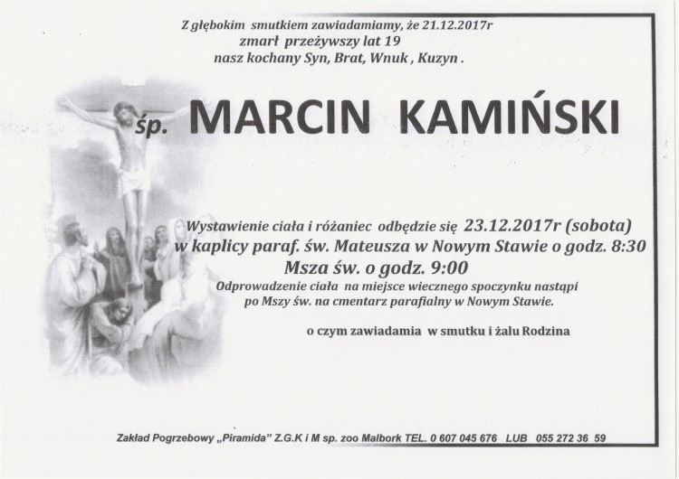 Zmarł Marcin Kamiński. Żył 19 lat.