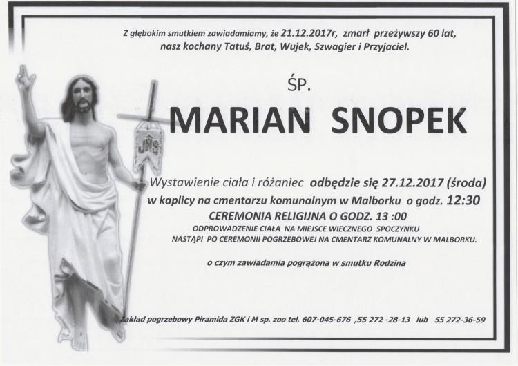 Zmarł Marian Snopek. Żył 60 lat.