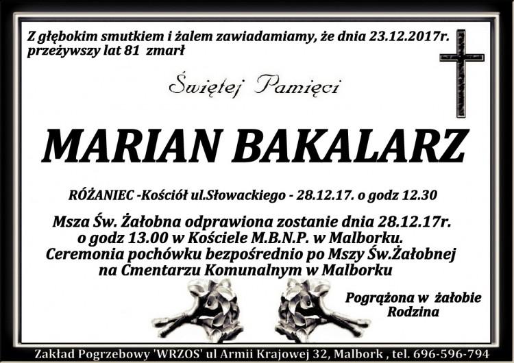 Zmarł Marian Bakalarz. Żył 81 lat.
