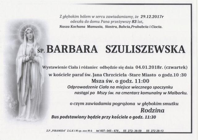 Zmarła Barbara Szuliszewska. Żyła 83 lat.