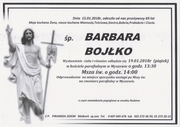 Zmarła Barbara Bojłko. Żyła 69 lat.