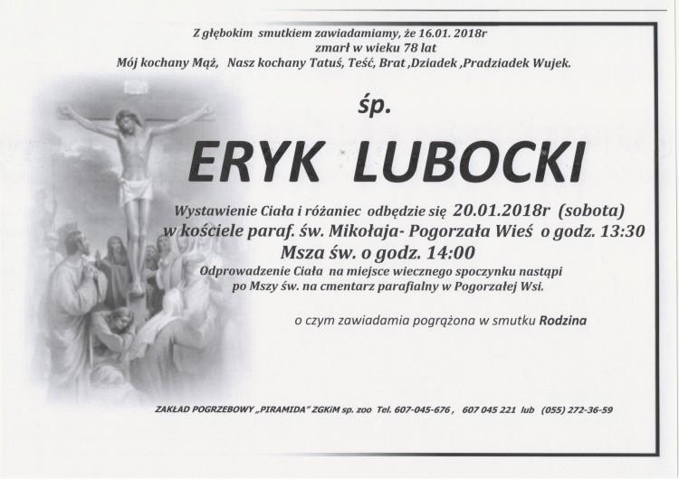 Zmarł Eryk Lubocki. Żył 78 lat.