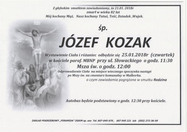 Zmarł Józef Kozak. Żył 82 lat.