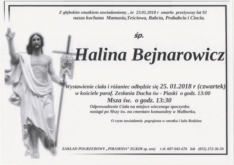 Zmarła Halina Bejnarowicz. Żyła 92 lat.