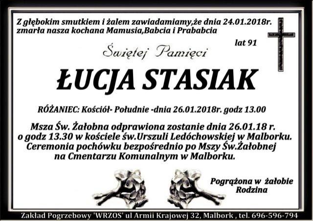 Zmarła Łucja Stasiak. Żyła 91 lat.