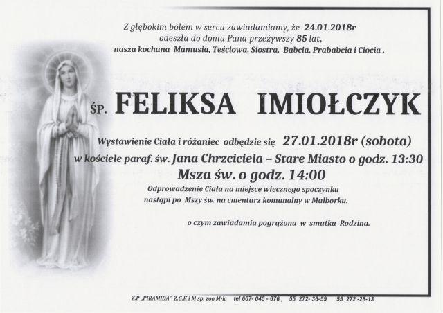 Zmarła Feliksa Imiołyczyk. Żyła 85 lat.