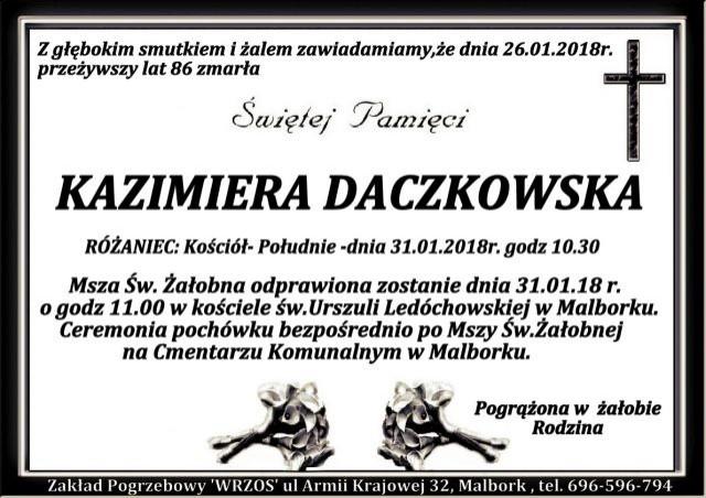 Zmarła Kazimiera Daczkowska. Żyła 86 lat.
