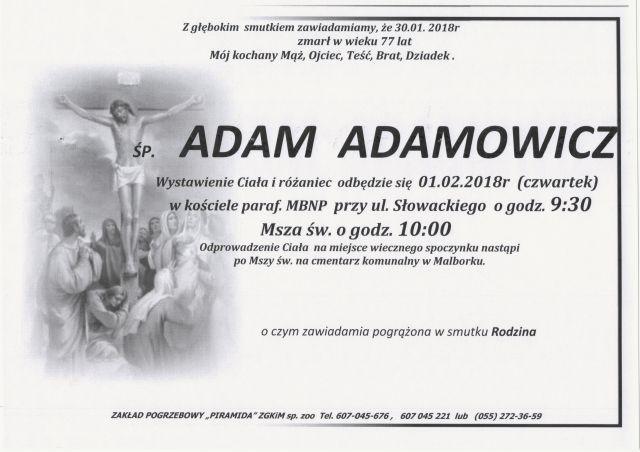 Zmarł Adam Adamowicz. Żył 77 lat.