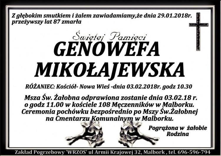 Zmarła Genowefa Mikołajewska. Żyła 87 lat.