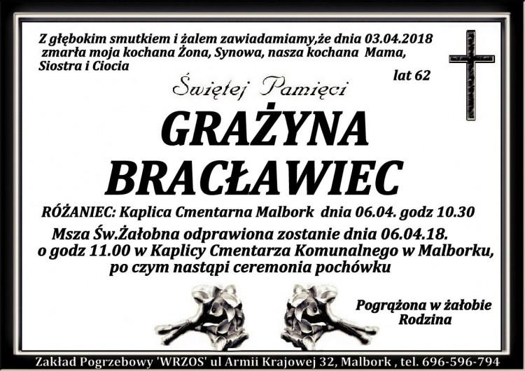 Zmarła Grażyna Bracławiec. Żyła 62 lata