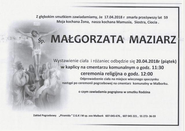 Zmarła Małgorzata Maziarz. Żyła 59 lat.