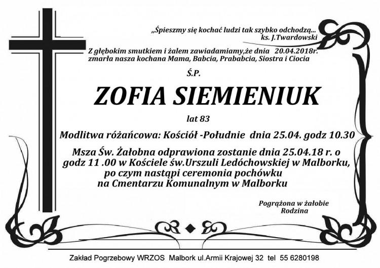 Zmarła Zofia Siemieniuk. Żyła 83 lata.