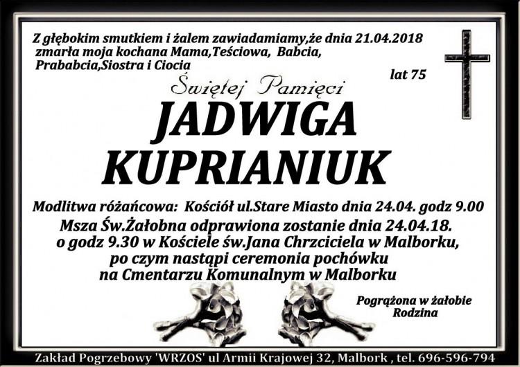 Zmarła Jadwiga Kuprianiuk. Żyła 75 lat