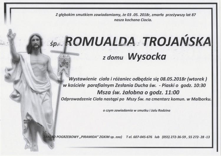 Zmarła Romualda Trojańska. Żyła 87 lat.