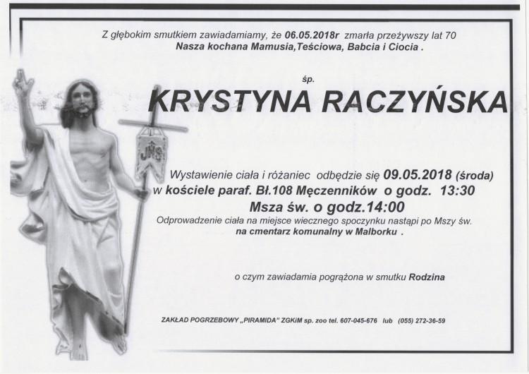 Zmarła Krystyna Raczyńska. Żyła 70 lat.
