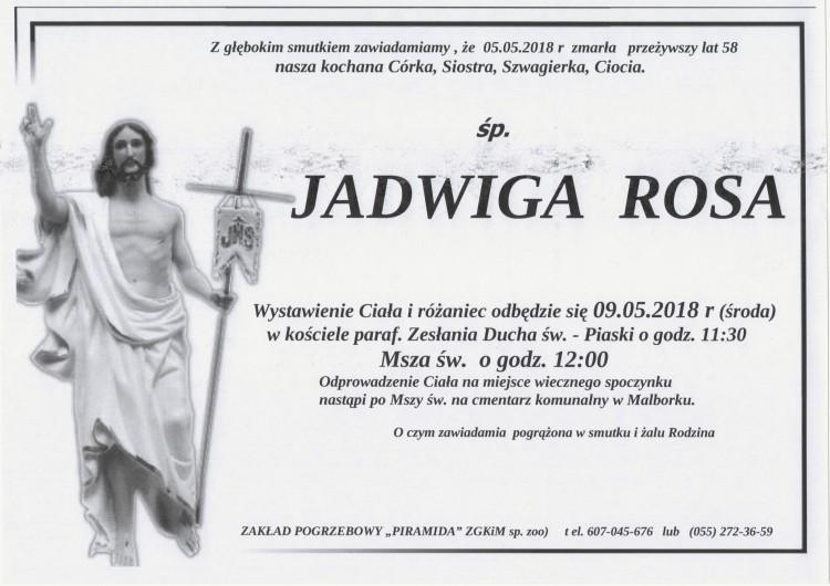 Zmarła Jadwiga Rosa. Żyła 58 lat.