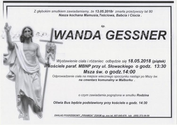 Zmarła Wanda Gessner. Żyła 80 lat.